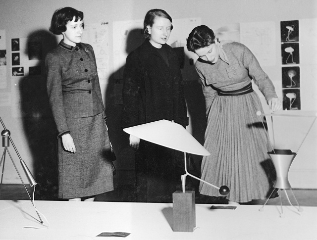 """Unidentified visitors at the exhibition, """"New Lamps,"""" March 27, 1951–June 3, 1951. Photographic Archive. The Museum of Modern Art Archives, New York. IN473.16"""