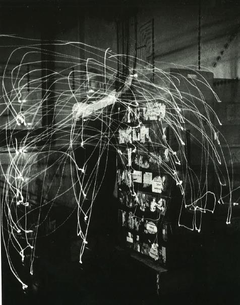 Gilbreth chronocyclograph of motions necessary to move and file sixteen boxes full of glass, n.d. From: Mike Mandel, Making Good Time: Scientific Management, the Gilbreths, Photoraphy and Motion, Futurism (Santa Cruz, CA: California Museum of Photography, University of California, Riverside, 1989), 26.
