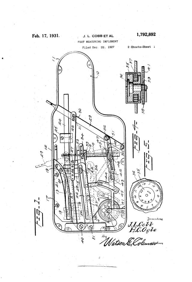 "Detail of U.S. utility patent 1,792,892 for ""foot measuring implement,"" 1931. United States Patent and Trademark Office, www.uspto.gov."
